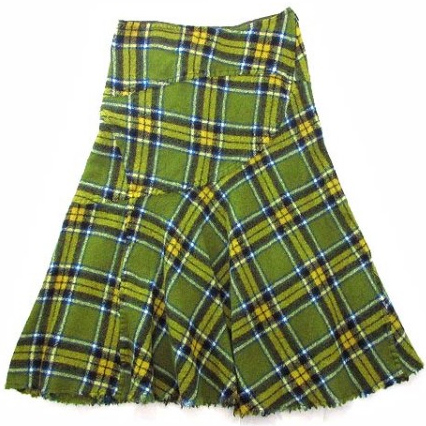 tricot COMME des GARCONS plaid wool flare skirt