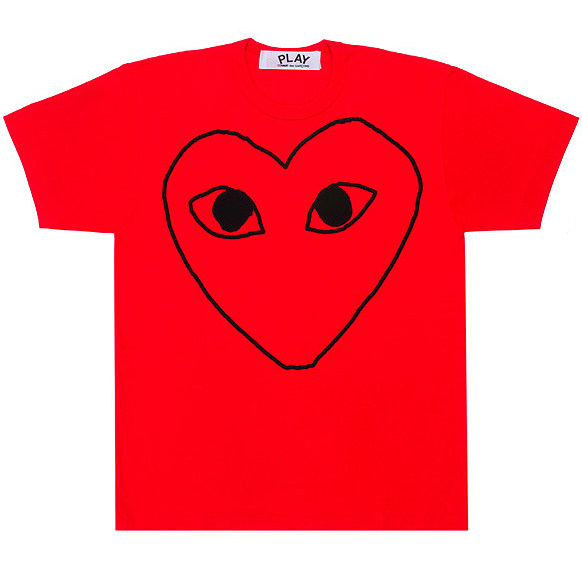 PLAY COMME des GARCONS heart outlines red T-shirts