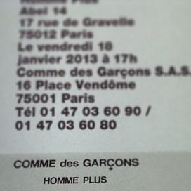 Show invitation of COMME des GARCONS